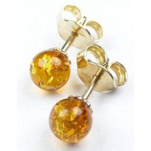 Zlaté jantárové náušnice Glare 51